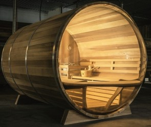 BUITENSAUNA BARREL SAUNA 301 RED CEDAR PANORAMA